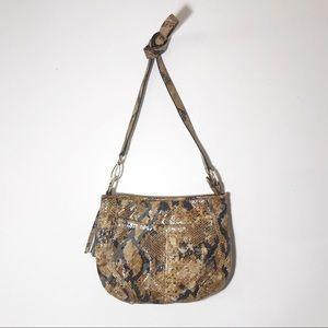 B. Makowsky Snakeskin Print Crossbody Bag Leather